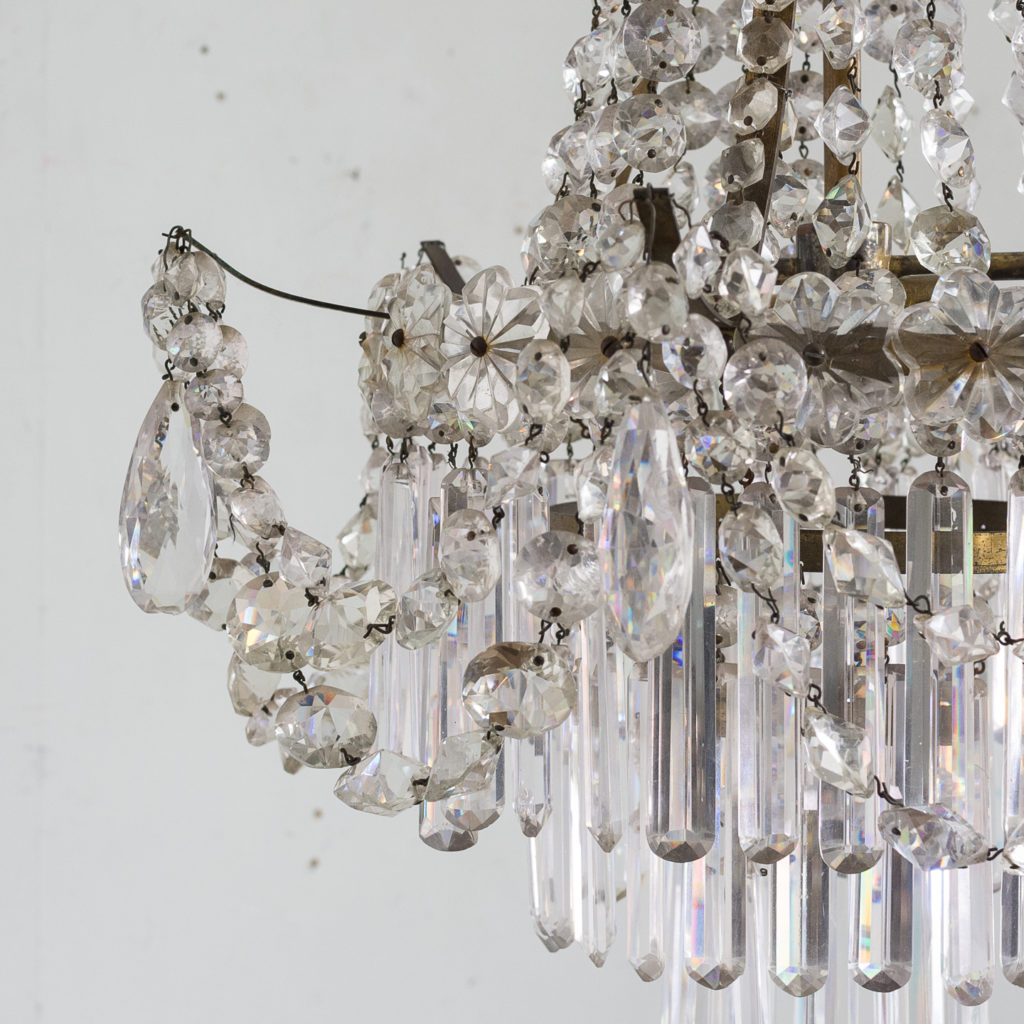 Pair of Regency style glass waterfall chandeliers,-140428