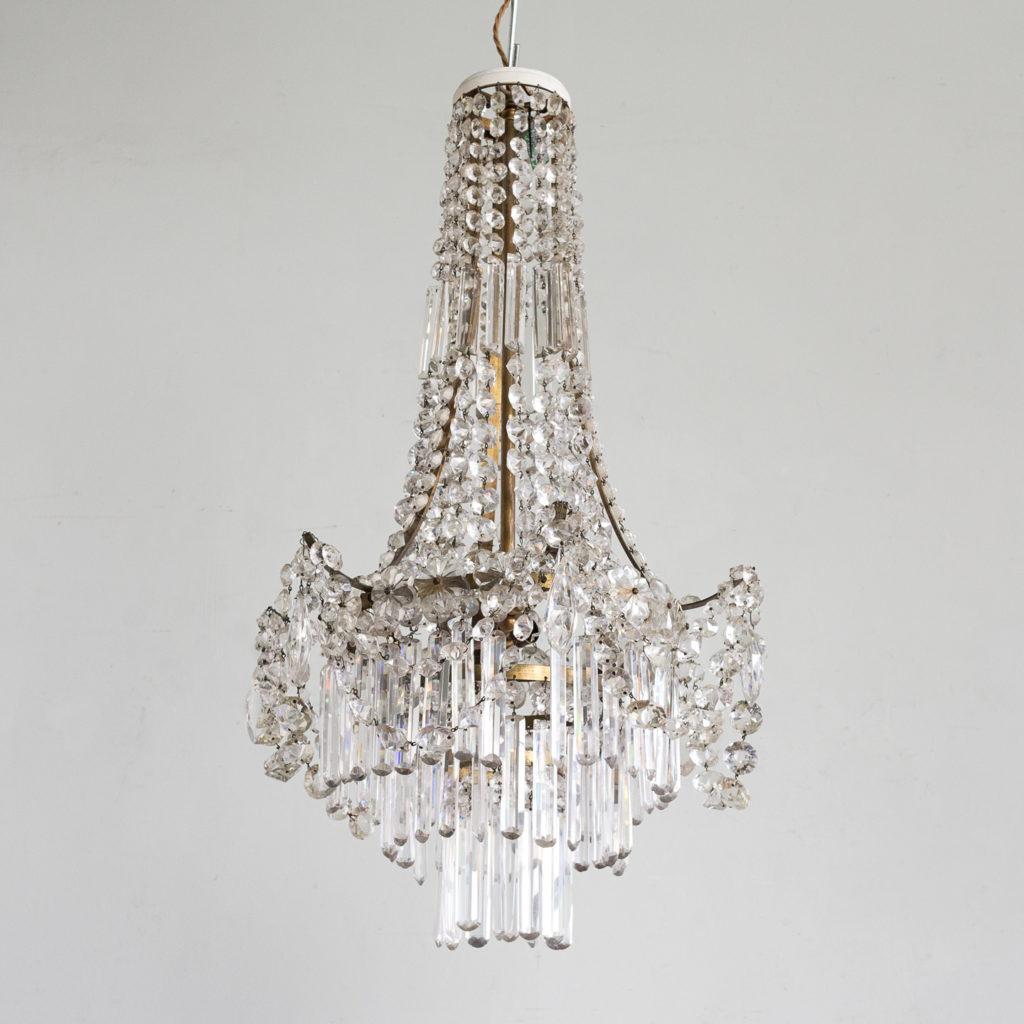 Pair of Regency style glass waterfall chandeliers,-140431