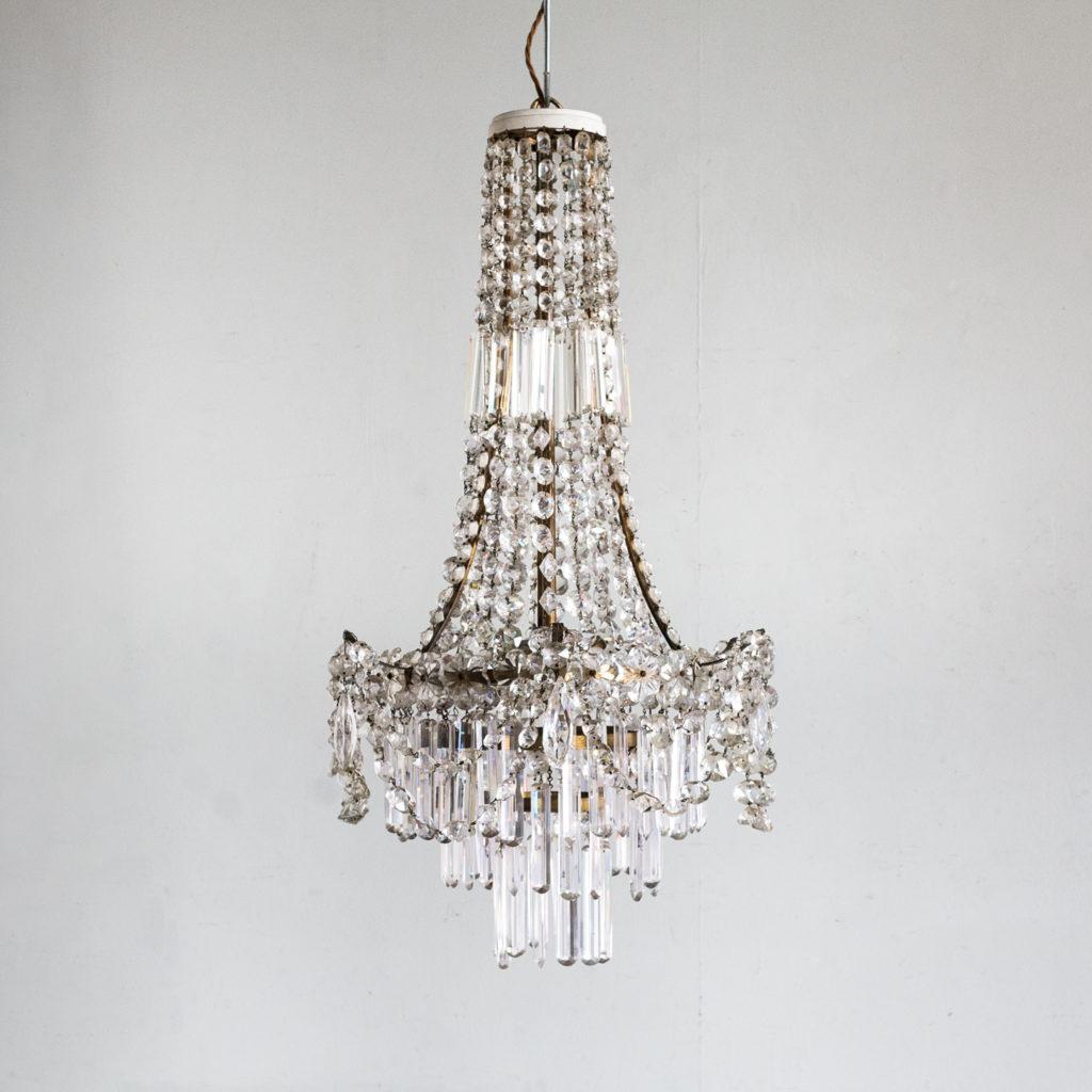 Pair of Regency style glass waterfall chandeliers,-140434