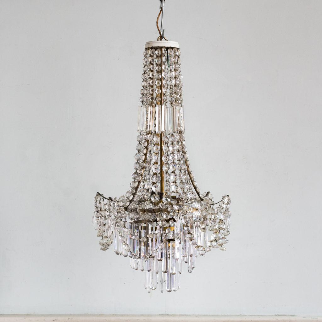 Regency style glass waterfall chandeliers,