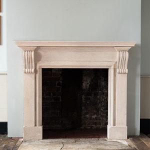 George II style Bathstone fireplace,