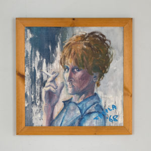 Self portrait with a cigarette, by Sheila Steafel