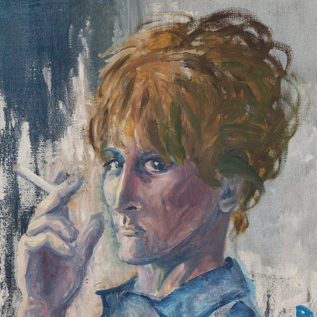 Self portrait with a cigarette, by Sheila Steafel-140354