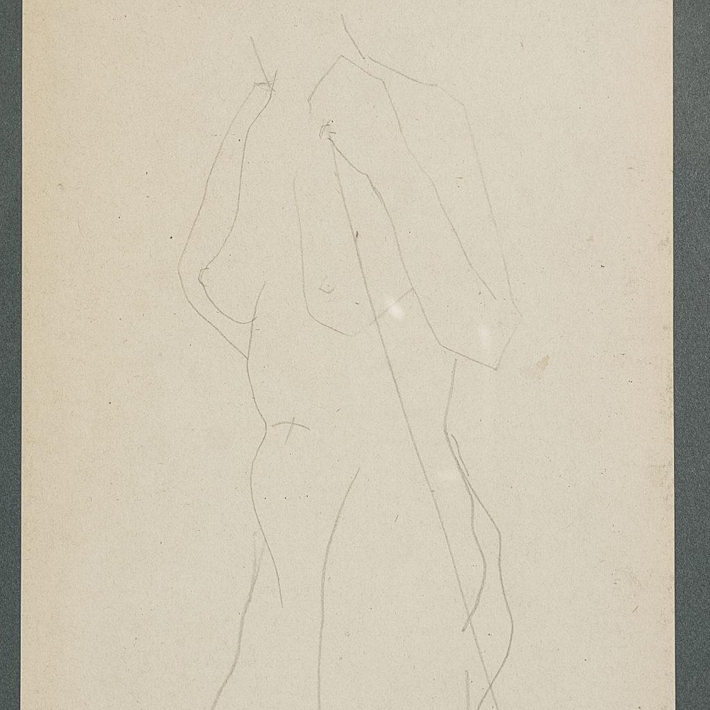 Naked artists model. Pencil sketch
