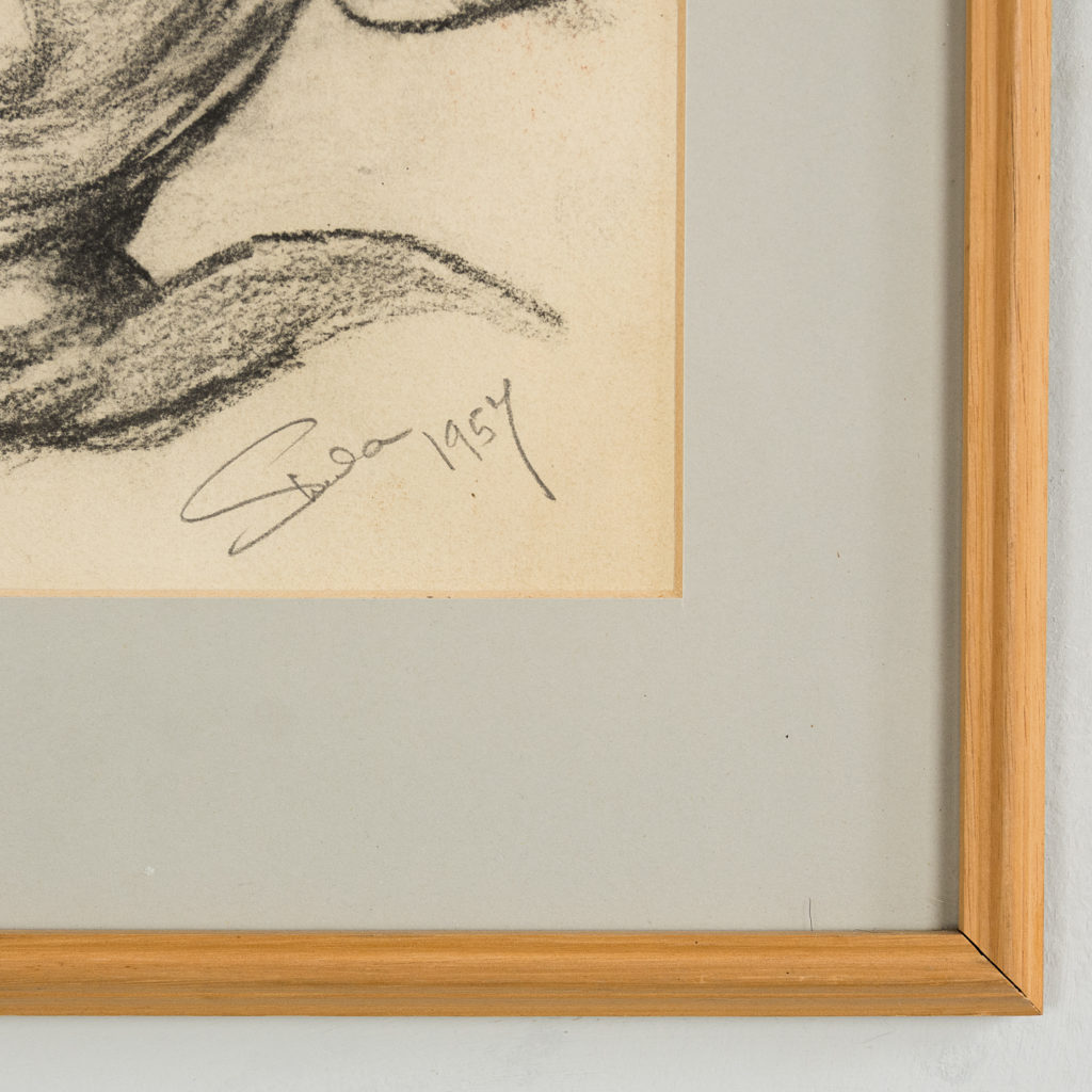 Framed study of Harry H. Corbett signed and dated 1957.