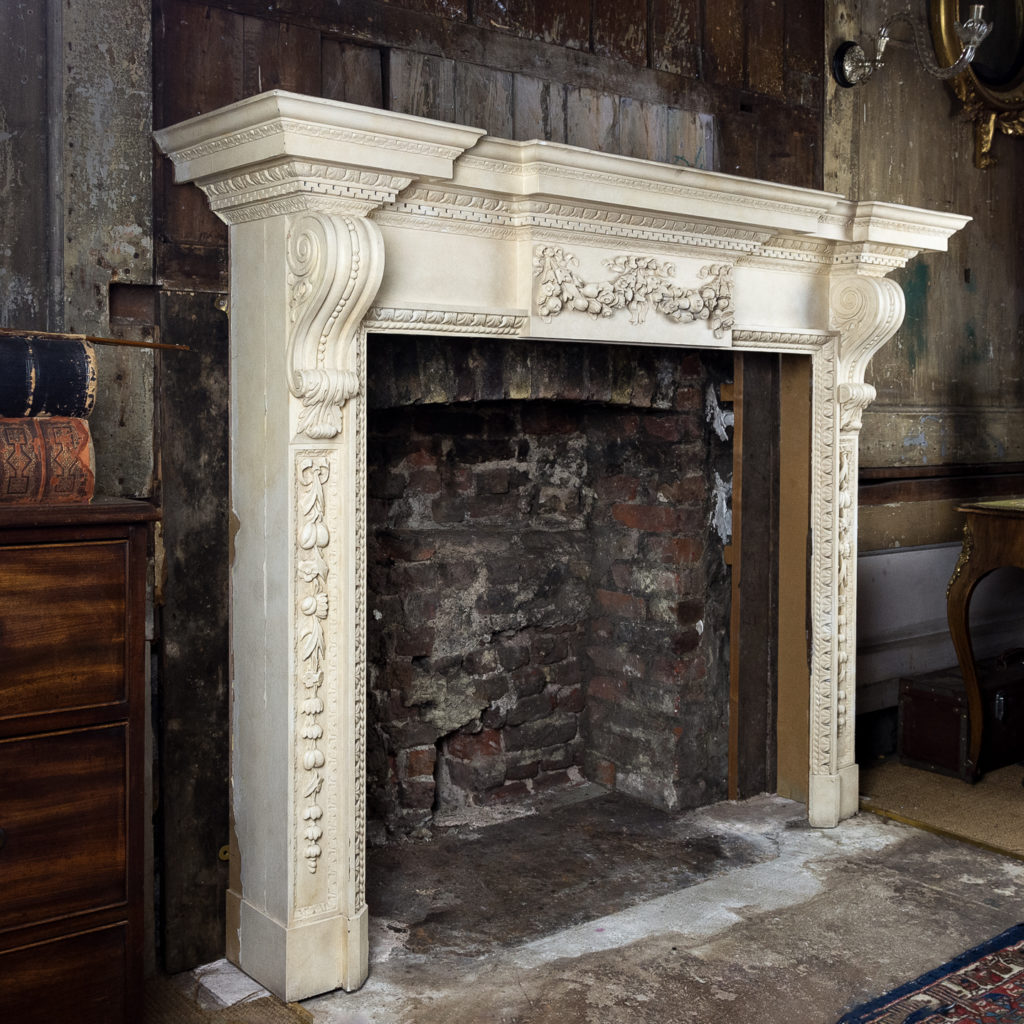 Large mid-Georgian style painted timber fireplace,-140550