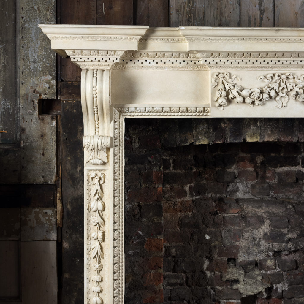 Large mid-Georgian style painted timber fireplace,-140549