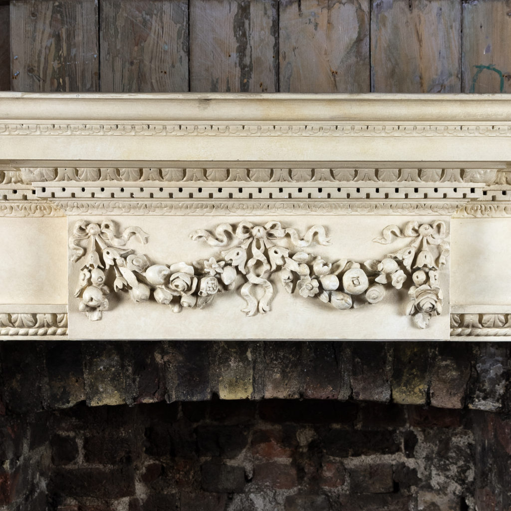 Large mid-Georgian style painted timber fireplace,-140551