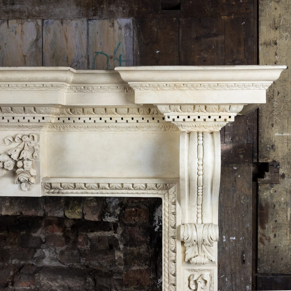 Large mid-Georgian style painted timber fireplace,-140552