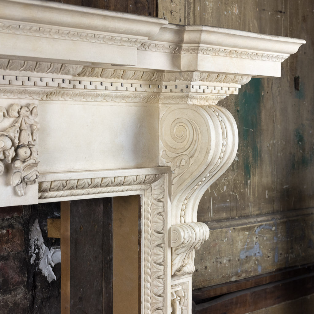 Large mid-Georgian style painted timber fireplace,-140554