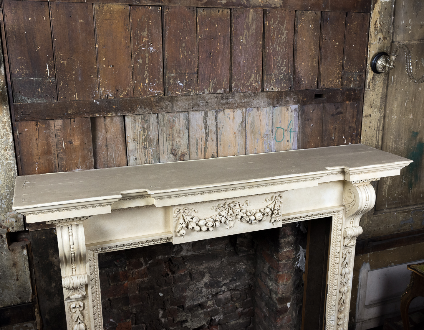 Large mid-Georgian style painted timber fireplace,-140558