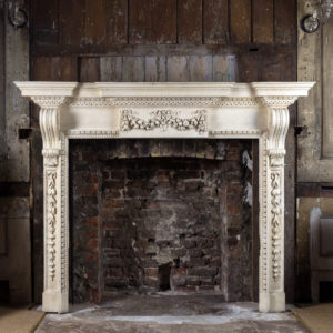Large mid-Georgian style painted timber fireplace,