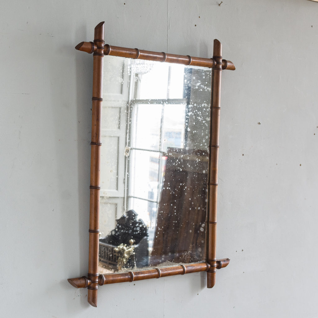 French fruitwood bamboo moulded wall mirror,-140524