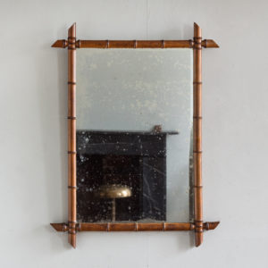 French fruitwood bamboo moulded wall mirror,