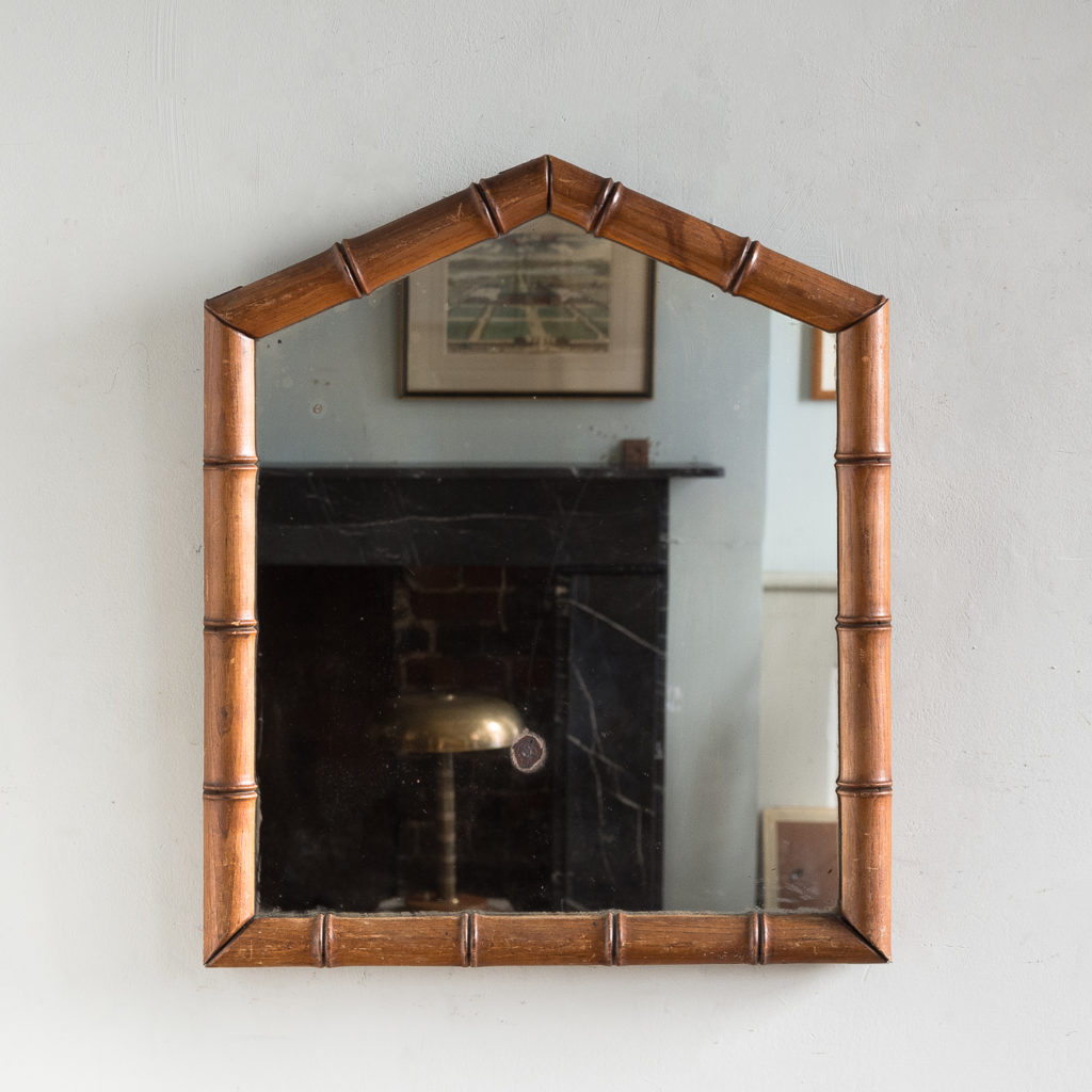 Ash framed bamboo wall mirror,
