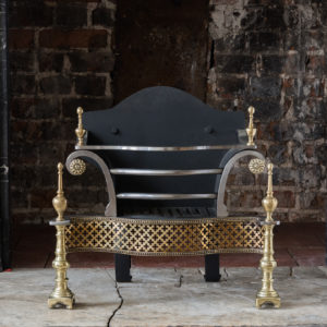 Georgian style steel, brass and iron fire grate