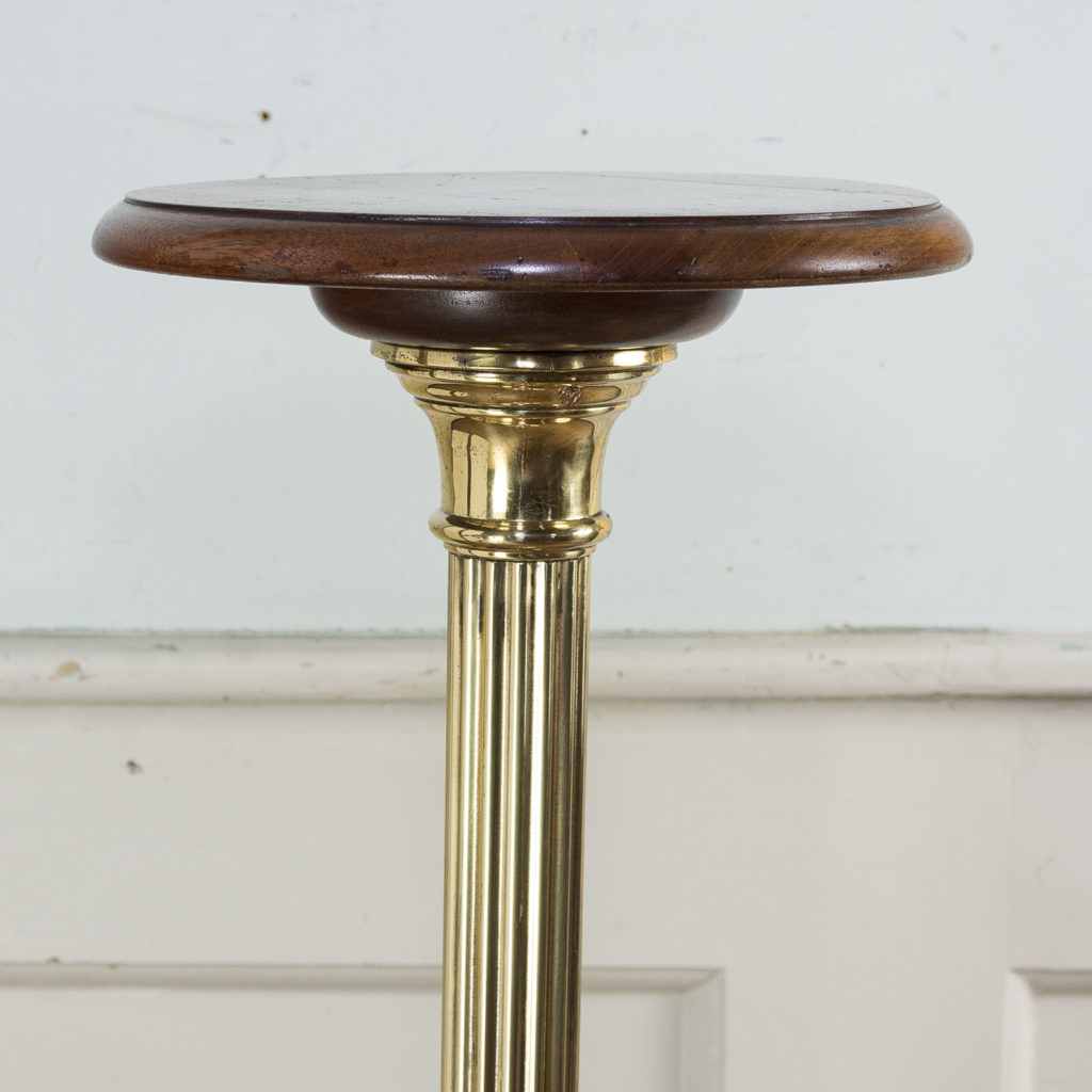 Victorian brass and mahogany jardiniere stand,-140532