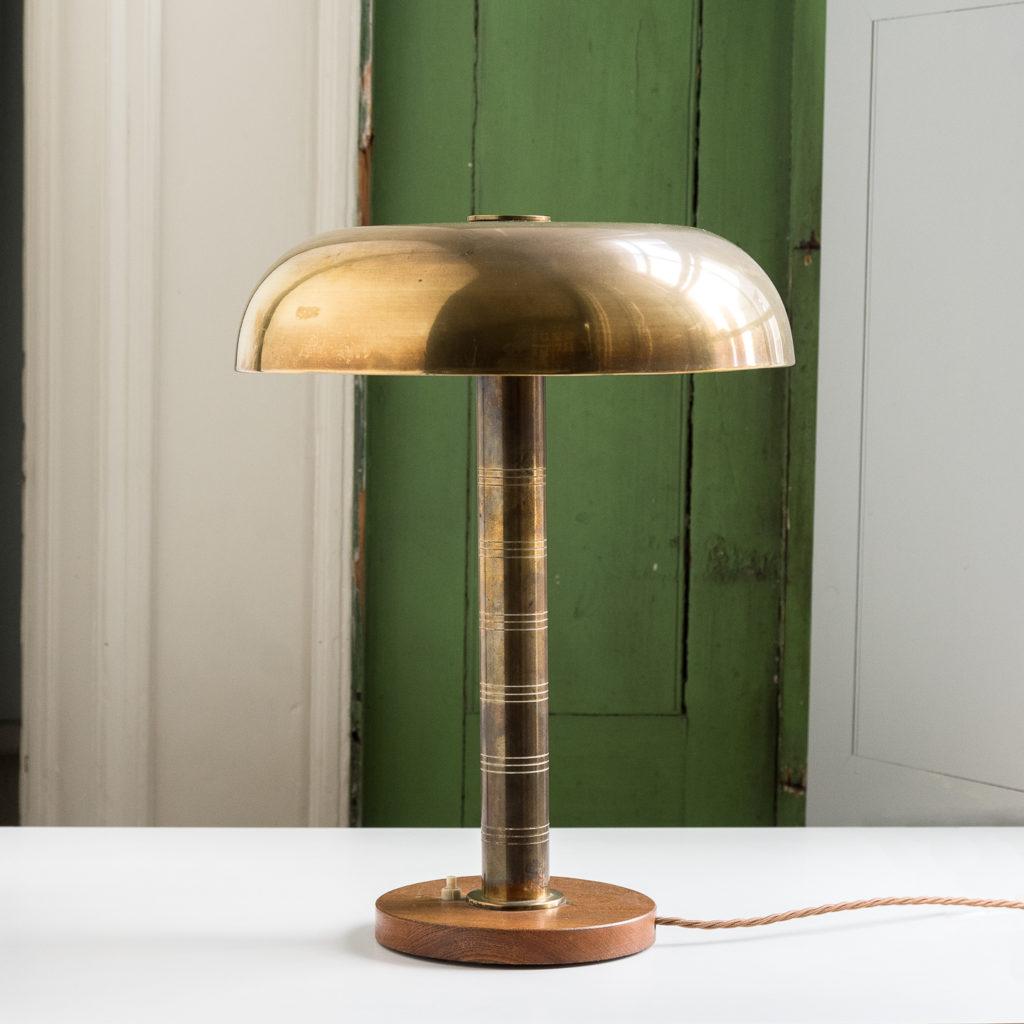 Mid-century brass 'mushroom' lamp,