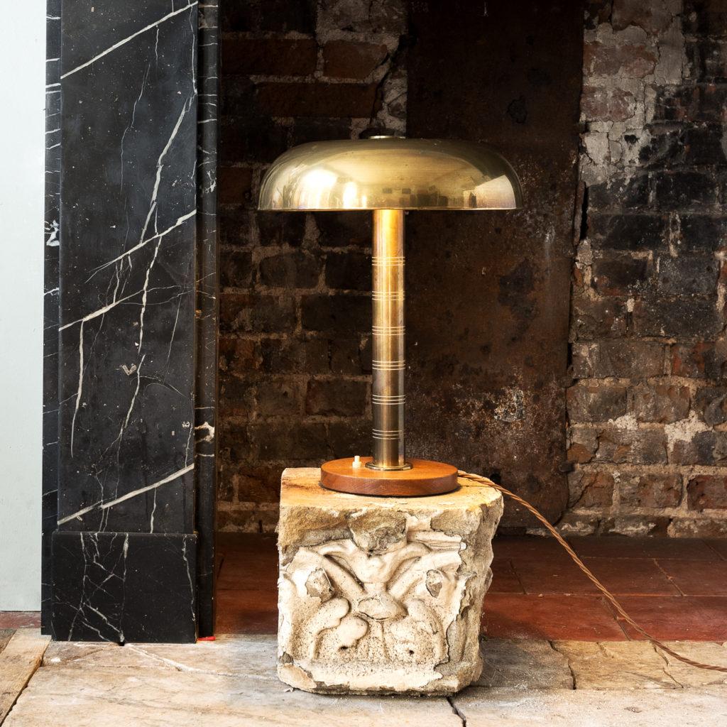 Mid-century brass 'mushroom' lamp,-140639