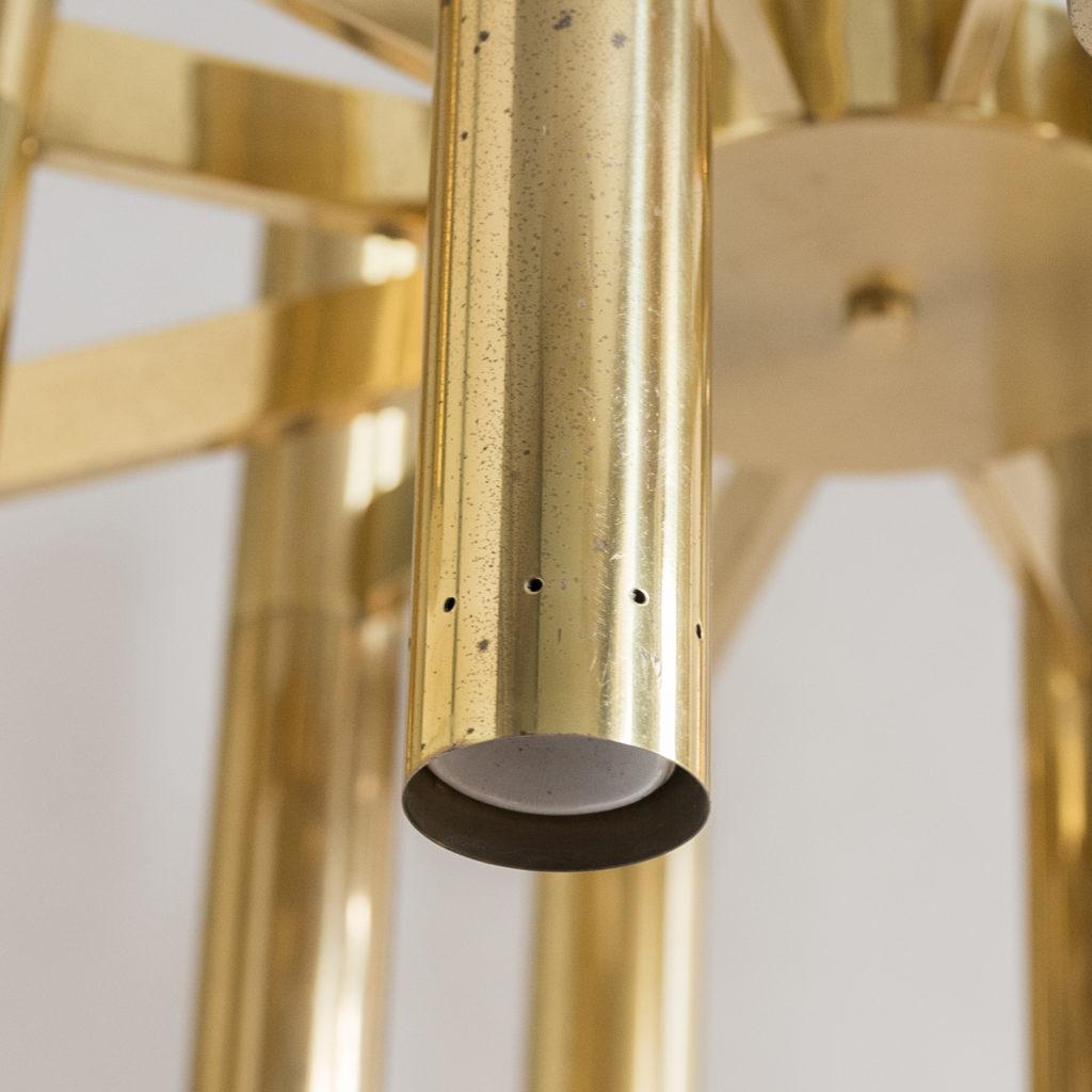 1960s Italian tubular brass chandelier,-140624