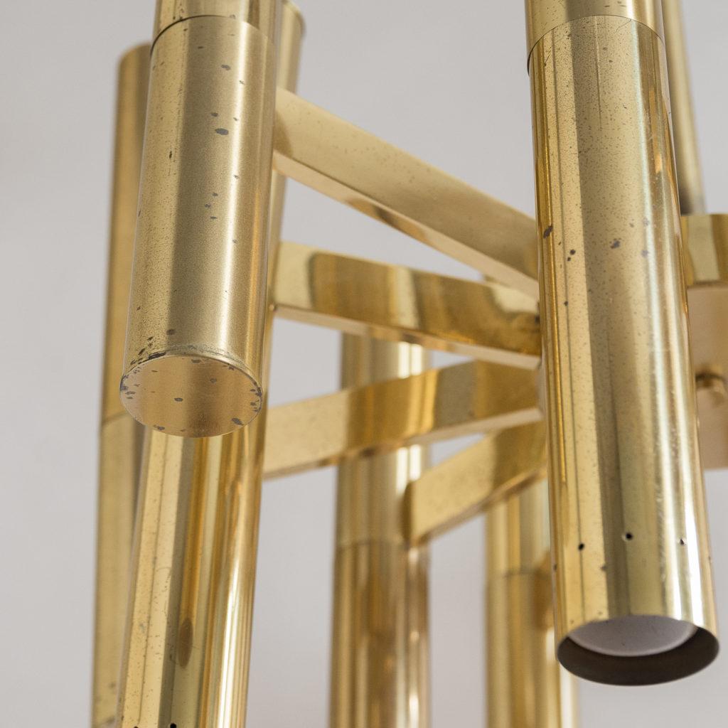 1960s Italian tubular brass chandelier,-140625