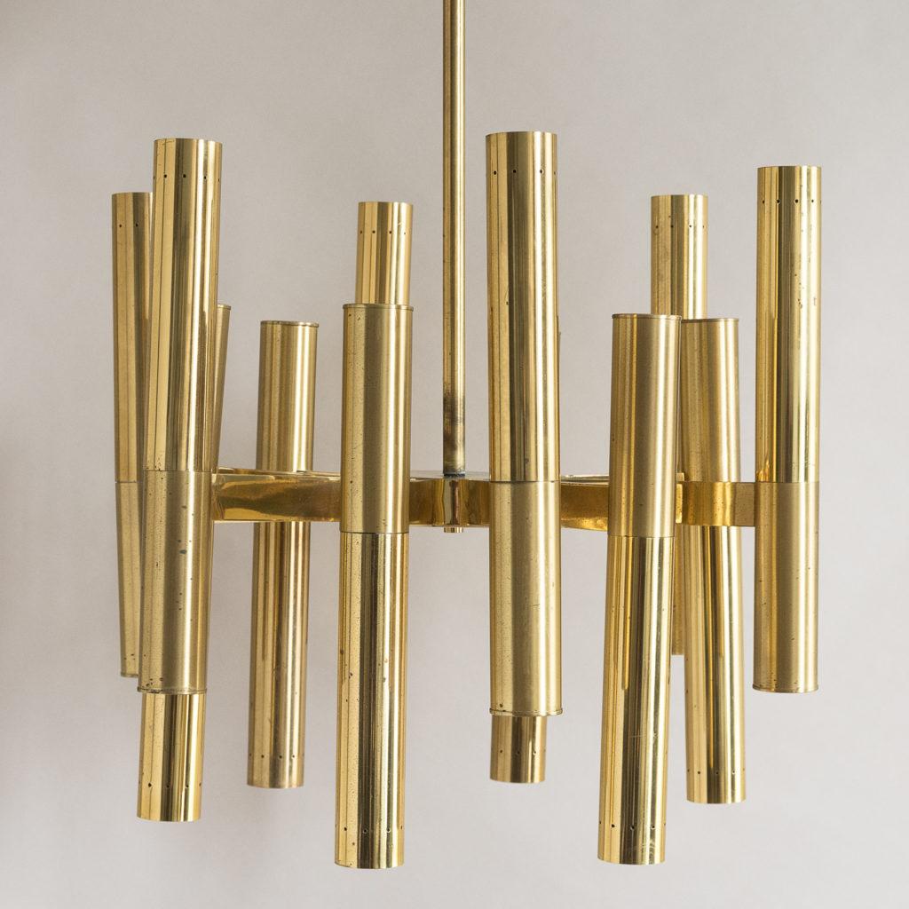 1960s Italian tubular brass chandelier,