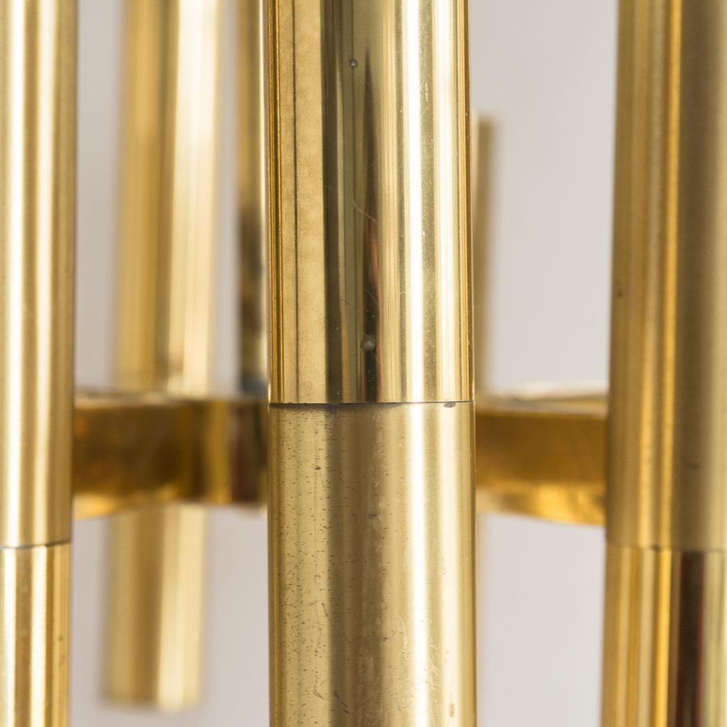 1960s Italian tubular brass chandelier,-140631