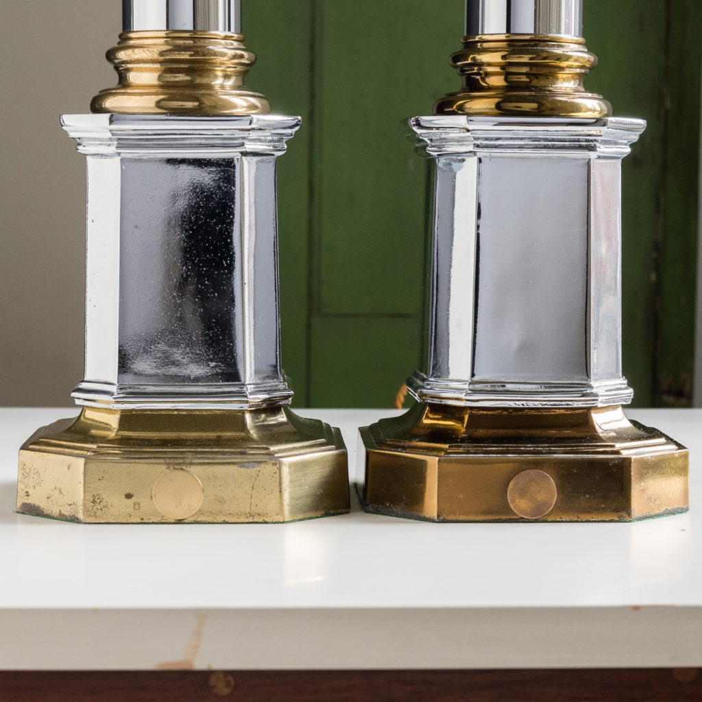Pair of chrome and brass table lamps,-140579