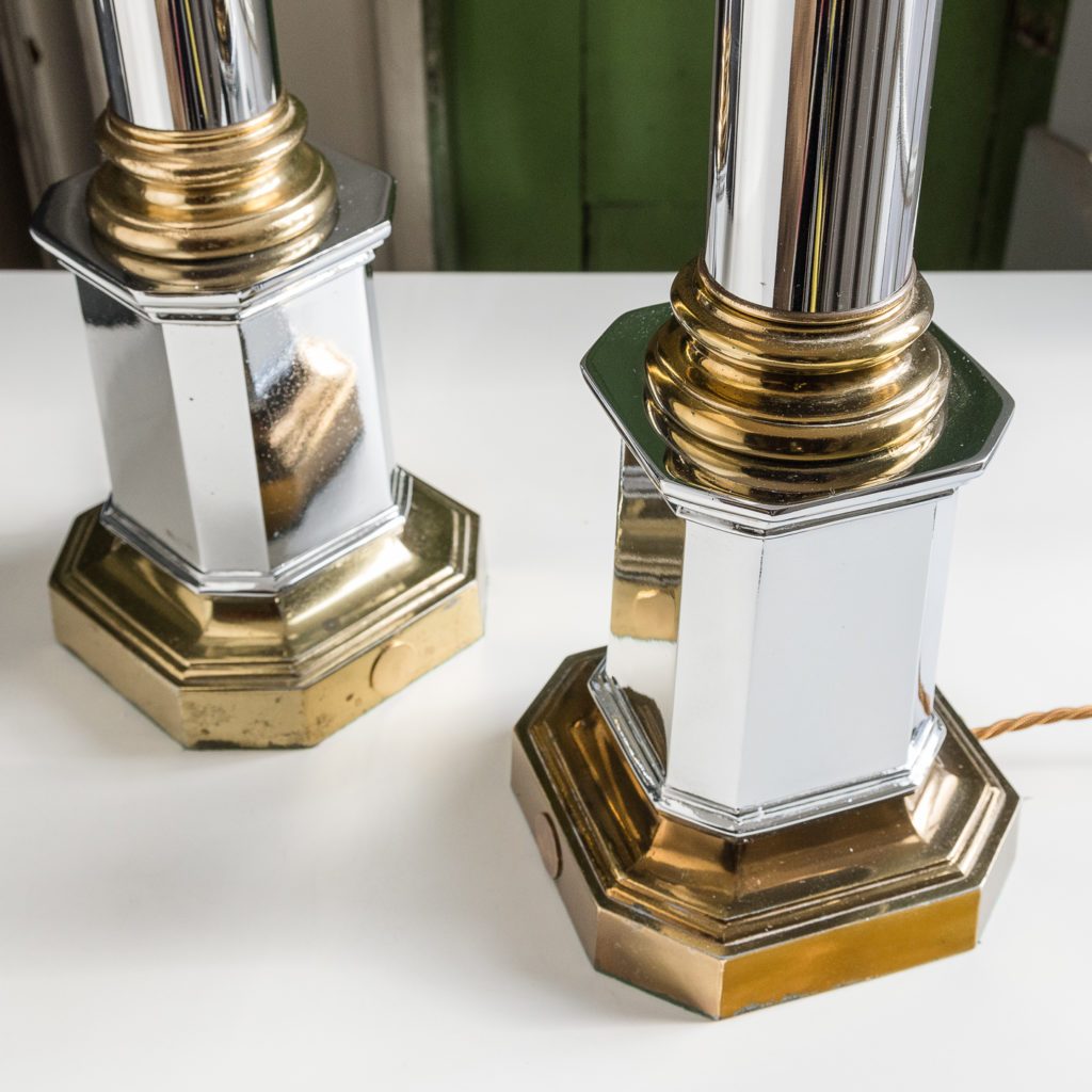 Pair of chrome and brass table lamps,-140580