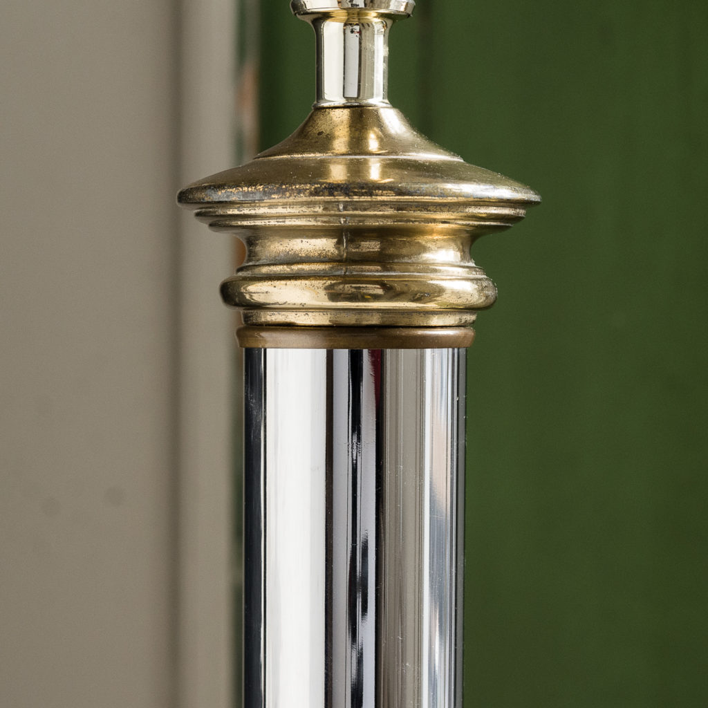 Pair of chrome and brass table lamps,-140584