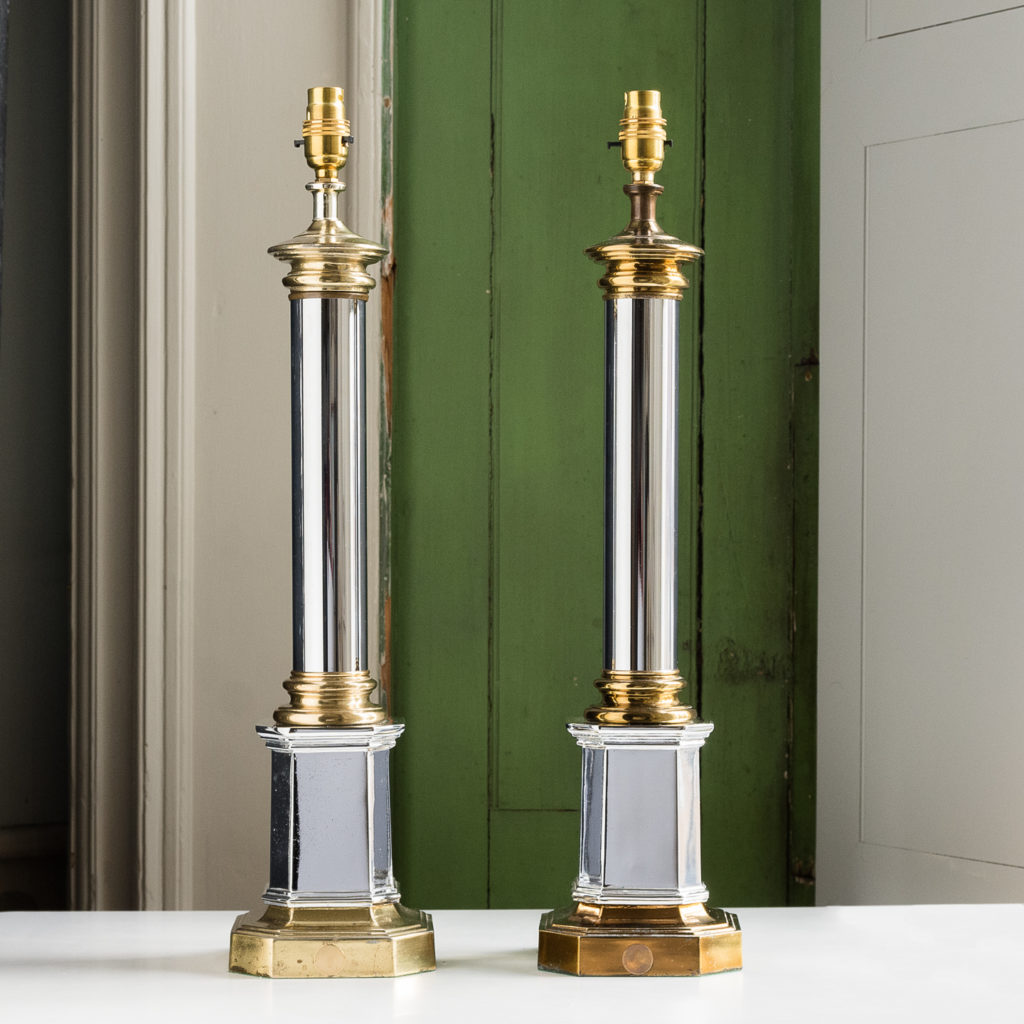 Pair of chrome and brass table lamps
