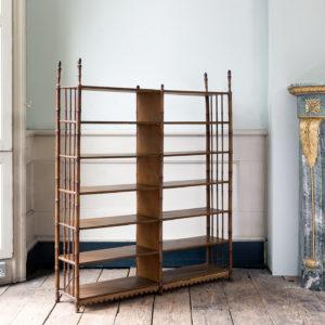 Set of Regency faux-bamboo painted shelves