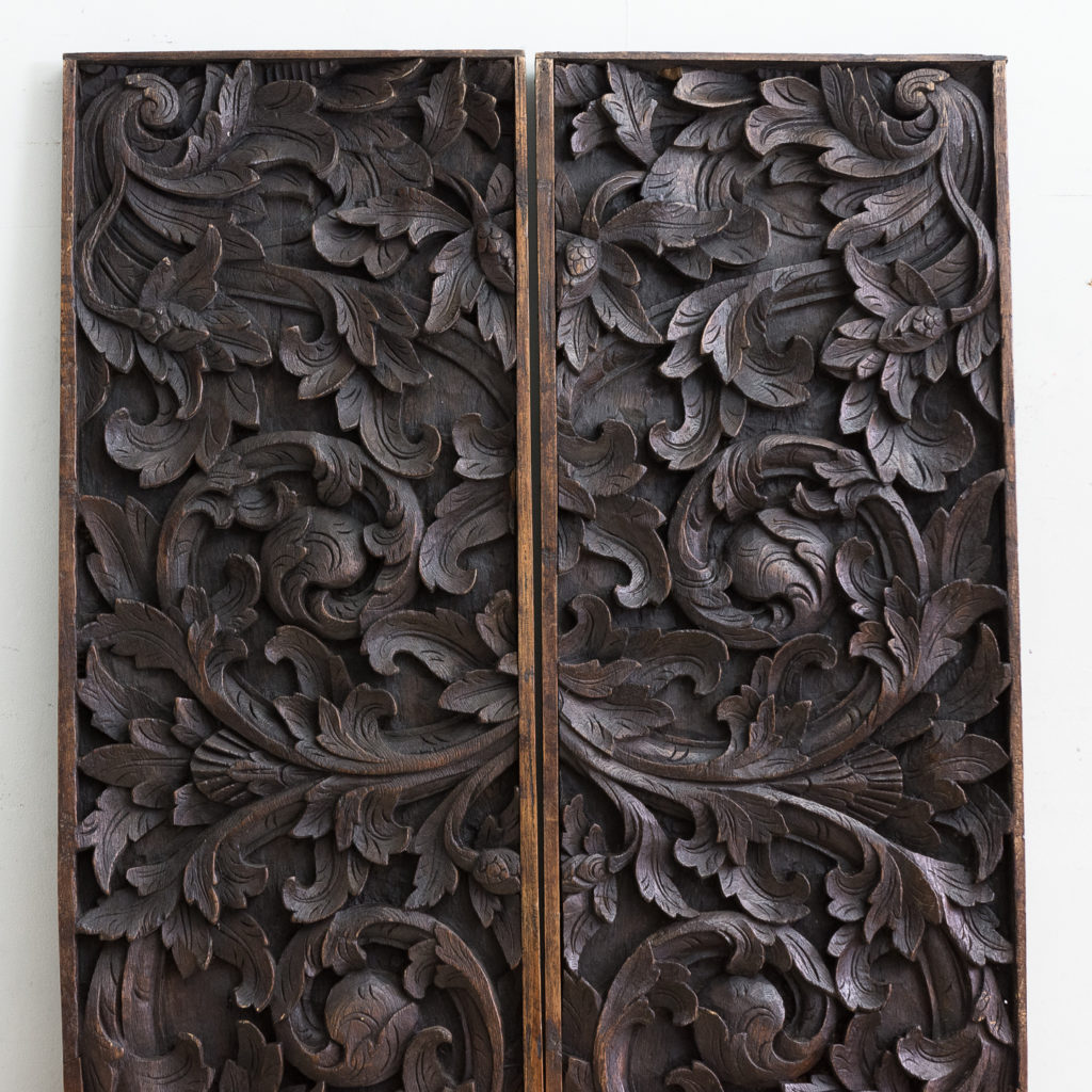 Pair of English carved oak panels