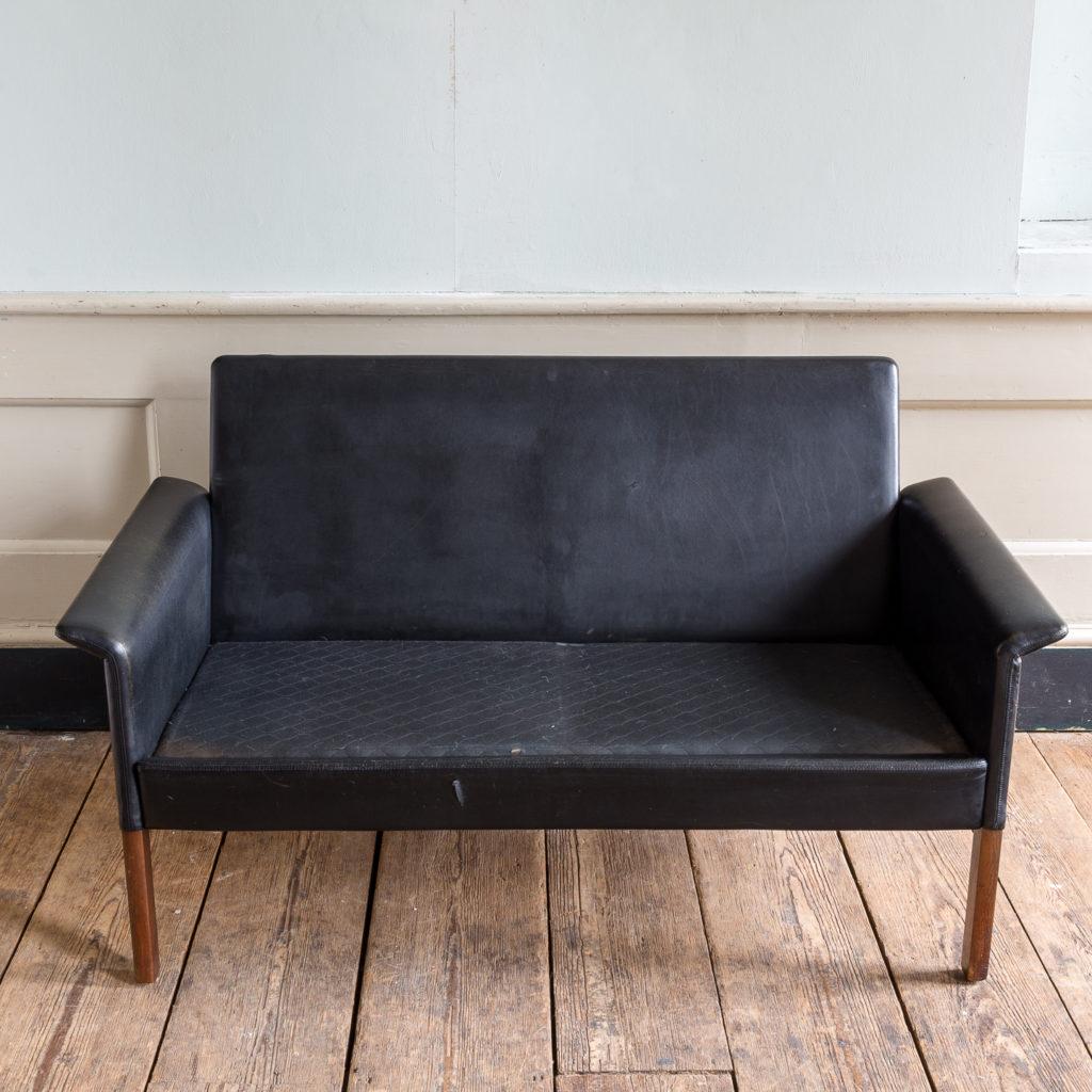 1960s Danish black leather sofa