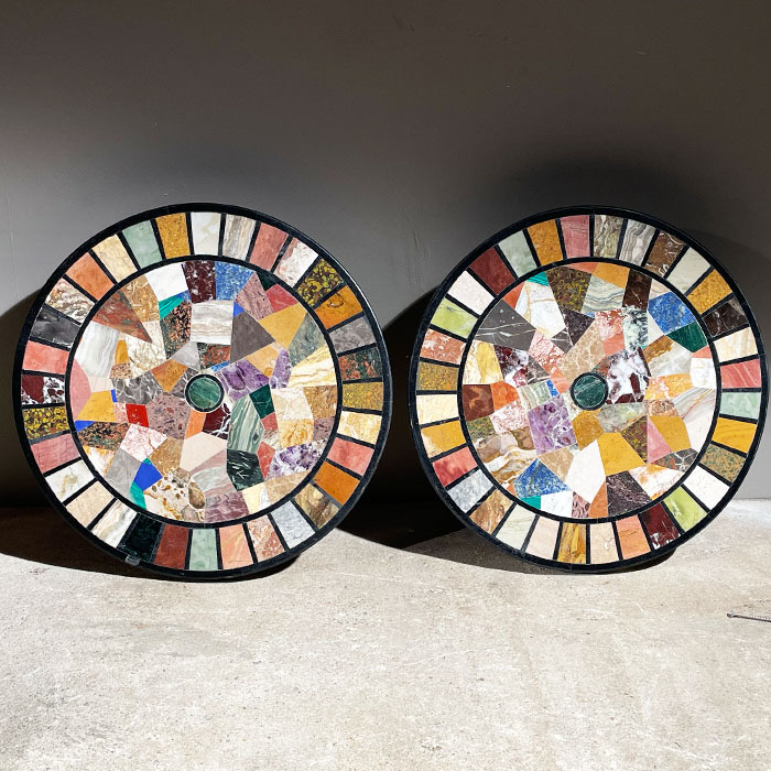 pair of mosaic table tops