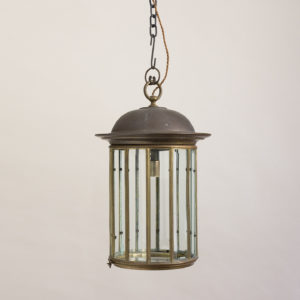 English cylindrical brass hall lantern,