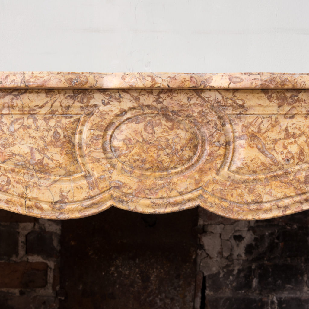 Louis XV style Pompadour fireplace in Brocatello marble