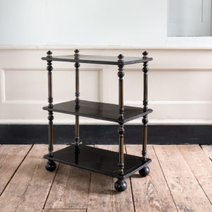Victorian ebonised and parcel-gilt etagere