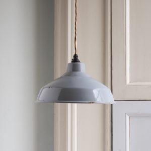 Grey enamelled light shade