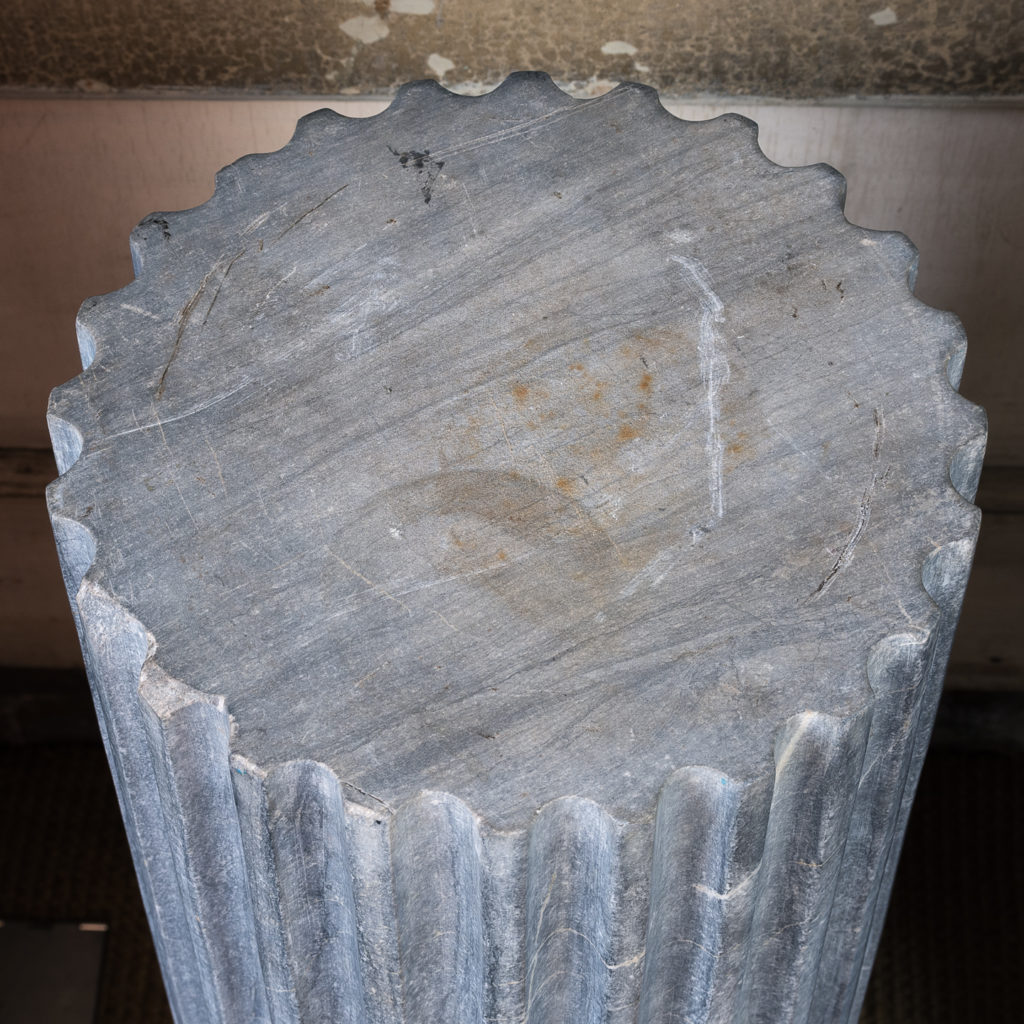 Pair of nineteenth century Bleu Turquin marble pedestals,