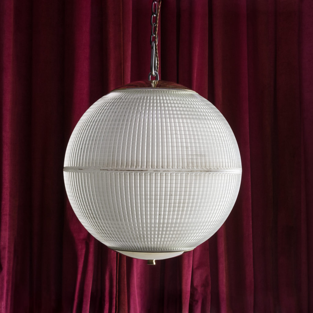 French Holophane frosted prismatic glass pendant lights,