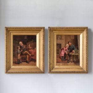 Pair of 19th century genre paintings