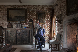 Adam Nicolson with his wife, Sarah Raven at Sissinghurst,