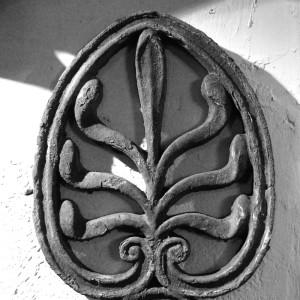 Anthemion - detail of the Asylum gatepost ironwork.