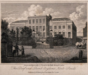 """Engraving c.1816, I.C. Varrell for """"Walks Through London"""" showing Anthemia gateposts, lantern brackets & railing"""