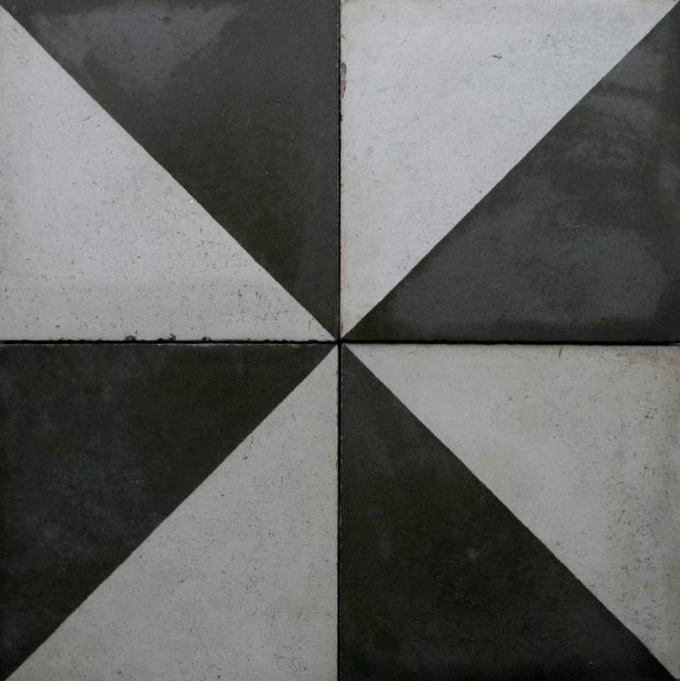 Angular glazed black & white floor tiles, stock code 30128
