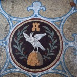 Victorian tessellated mosaic of the Ogden family crest
