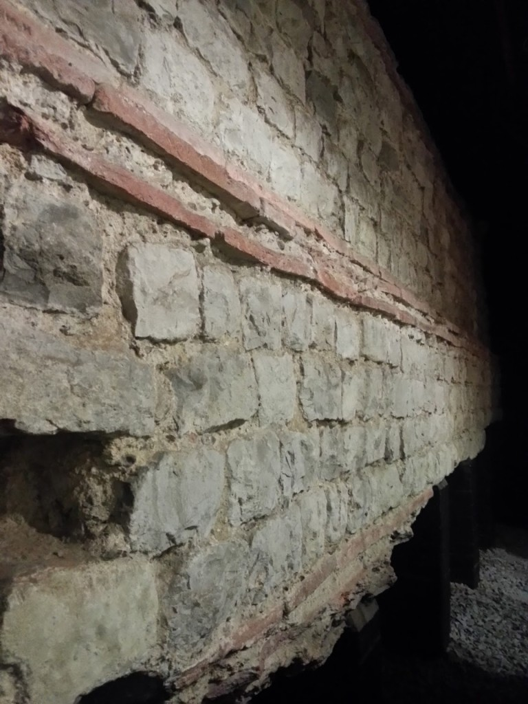 Stretch of Roman wall in the basement of the building