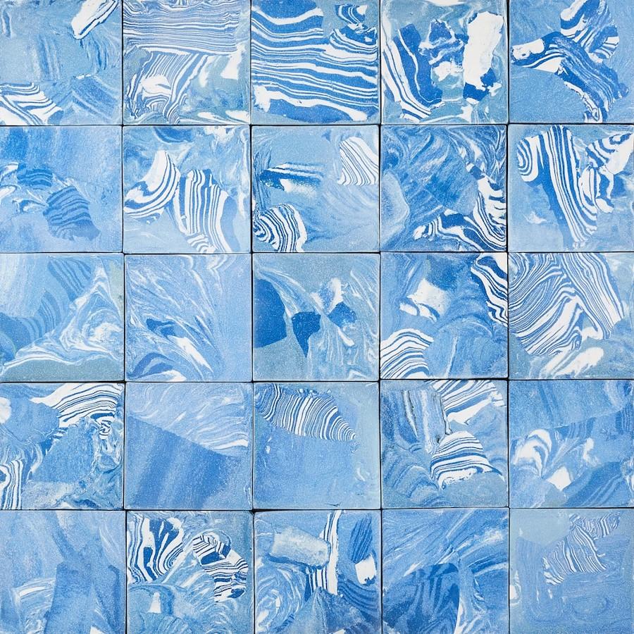 close up of assemble architecture tiles
